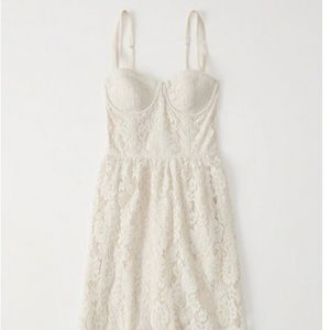 Abercrombie lace corset off white dress